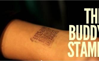 QR Code sur le poigné bar buddy stamp