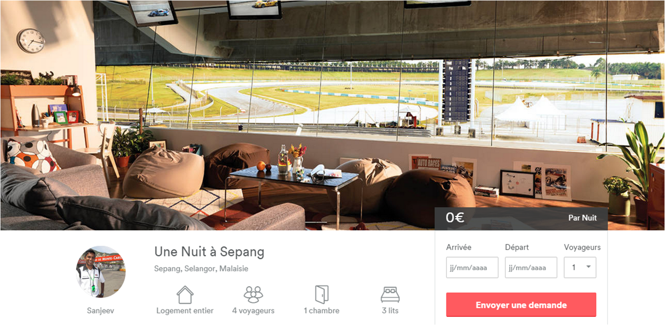 airbnb_Nuit_circuit_F1_Malaisie